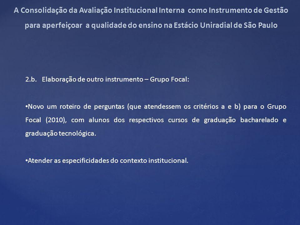 2.b. Elaboração de outro instrumento – Grupo Focal: Novo um roteiro de perguntas (que atendessem os critérios a e b) para o Grupo Focal (2010), com al
