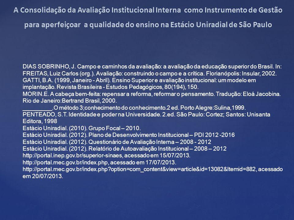 DIAS SOBRINHO, J.Campo e caminhos da avaliação: a avaliação da educação superior do Brasil.