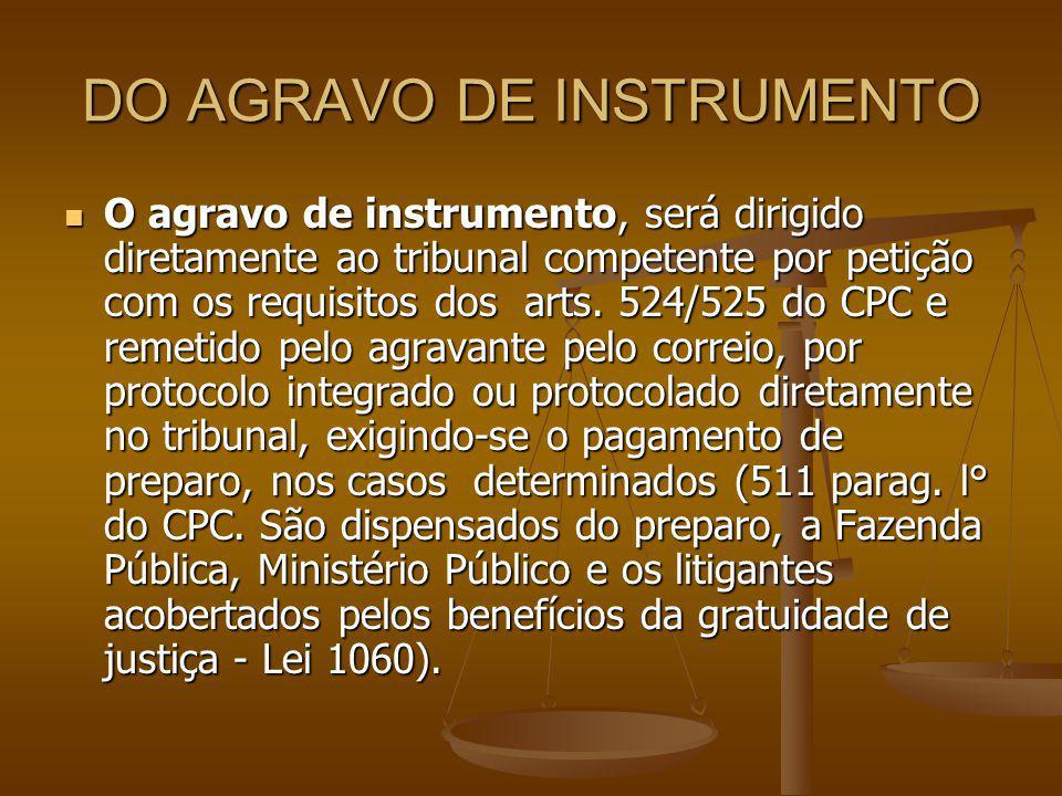 DO AGRAVO DE INSTRUMENTO O agravo de instrumento, será dirigido diretamente ao tribunal competente por petição com os requisitos dos arts. 524/525 do
