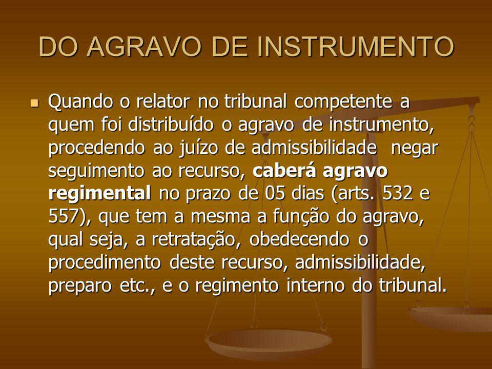 DO AGRAVO DE INSTRUMENTO Quando o relator no tribunal competente a quem foi distribuído o agravo de instrumento, procedendo ao juízo de admissibilidad