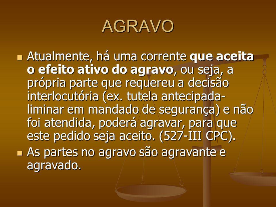 AGRAVO Atualmente, há uma corrente que aceita o efeito ativo do agravo, ou seja, a própria parte que requereu a decisão interlocutória (ex. tutela ant