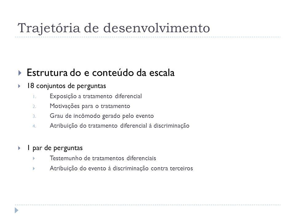 Trajetória de desenvolvimento  Estrutura do e conteúdo da escala  18 conjuntos de perguntas 1.