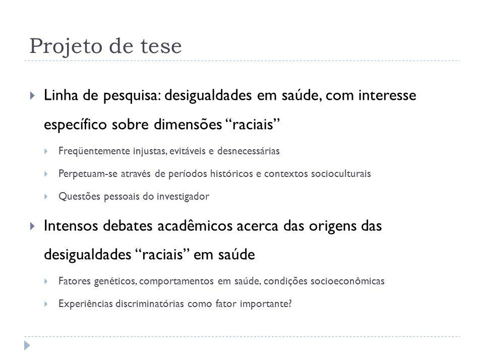 Projeto de tese  A idéia de que as experiências discriminatórias contribuem para as iniqüidades raciais em saúde baseia-se nos pressupostos de que: 1.