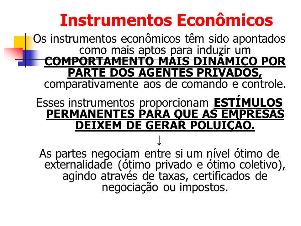 Instrumentos Econômicos Os instrumentos econômicos têm sido apontados como mais aptos para induzir um COMPORTAMENTO MAIS DINÂMICO POR PARTE DOS AGENTE