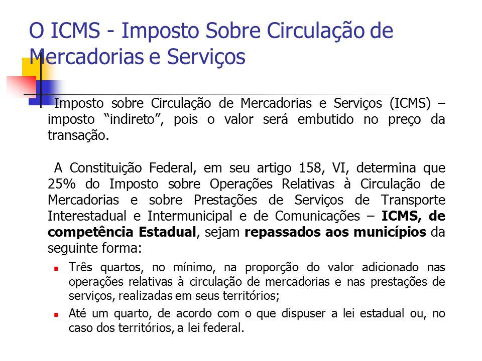 """O ICMS - Imposto Sobre Circulação de Mercadorias e Serviços Imposto sobre Circulação de Mercadorias e Serviços (ICMS) – imposto """"indireto"""", pois o val"""