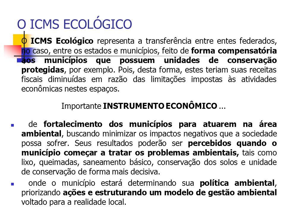 O ICMS ECOLÓGICO O ICMS Ecológico representa a transferência entre entes federados, no caso, entre os estados e municípios, feito de forma compensatór