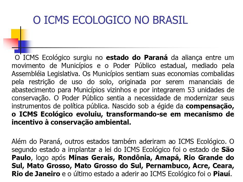 O ICMS ECOLOGICO NO BRASIL O ICMS Ecológico surgiu no estado do Paraná da aliança entre um movimento de Municípios e o Poder Público estadual, mediado