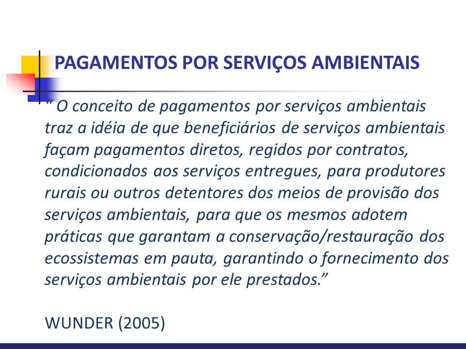 """ O conceito de pagamentos por serviços ambientais traz a idéia de que beneficiários de serviços ambientais façam pagamentos diretos, regidos por cont"