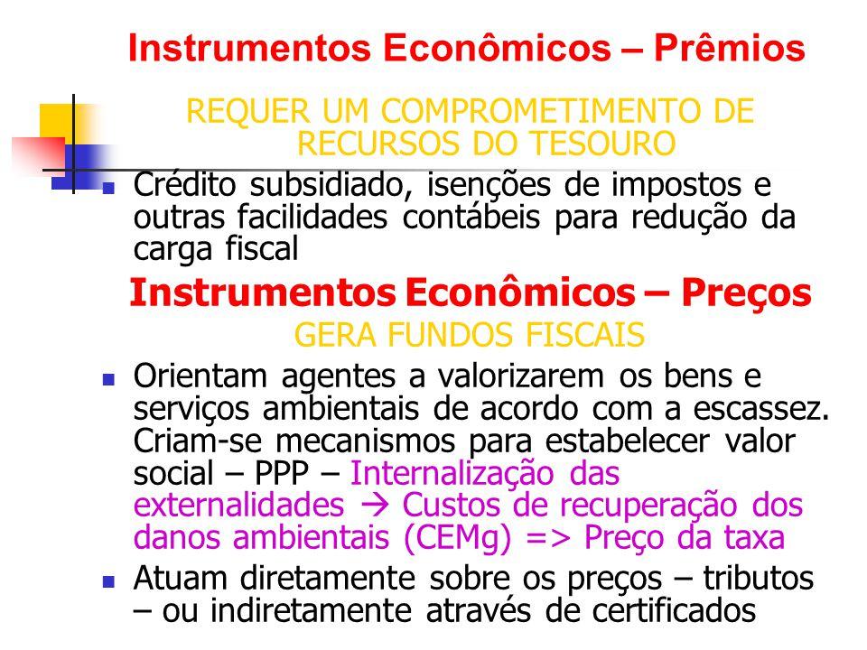 Instrumentos Econômicos ou de Mercado Cobrança pelo uso (taxa, tarifa)  cobrança pelas emissões poluentes ou pela utilização de recursos ambientais para alcançar o nível ótimo de externalidade.