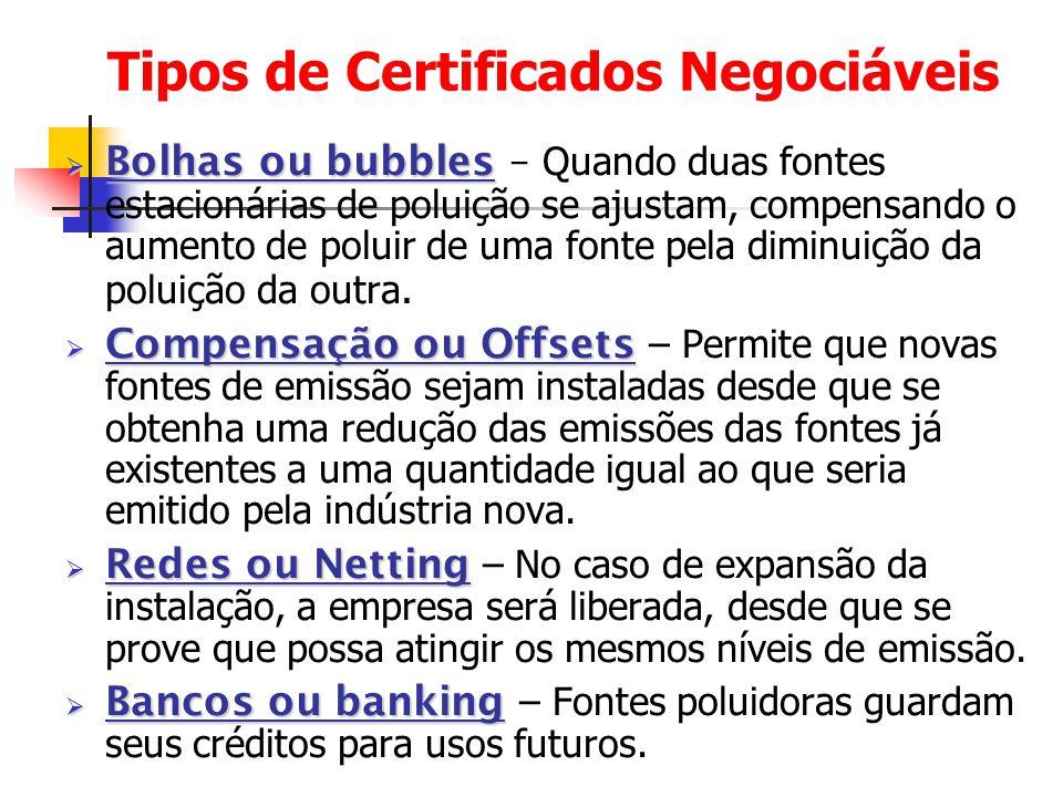 Tipos de Certificados Negociáveis  Bolhas ou bubbles  Bolhas ou bubbles – Quando duas fontes estacionárias de poluição se ajustam, compensando o aum