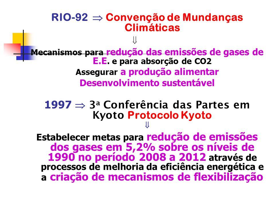 RIO-92  Convenção de Mundanças Climáticas  Mecanismos para redução das emissões de gases de E.E. e para absorção de CO2 Assegurar a produção aliment