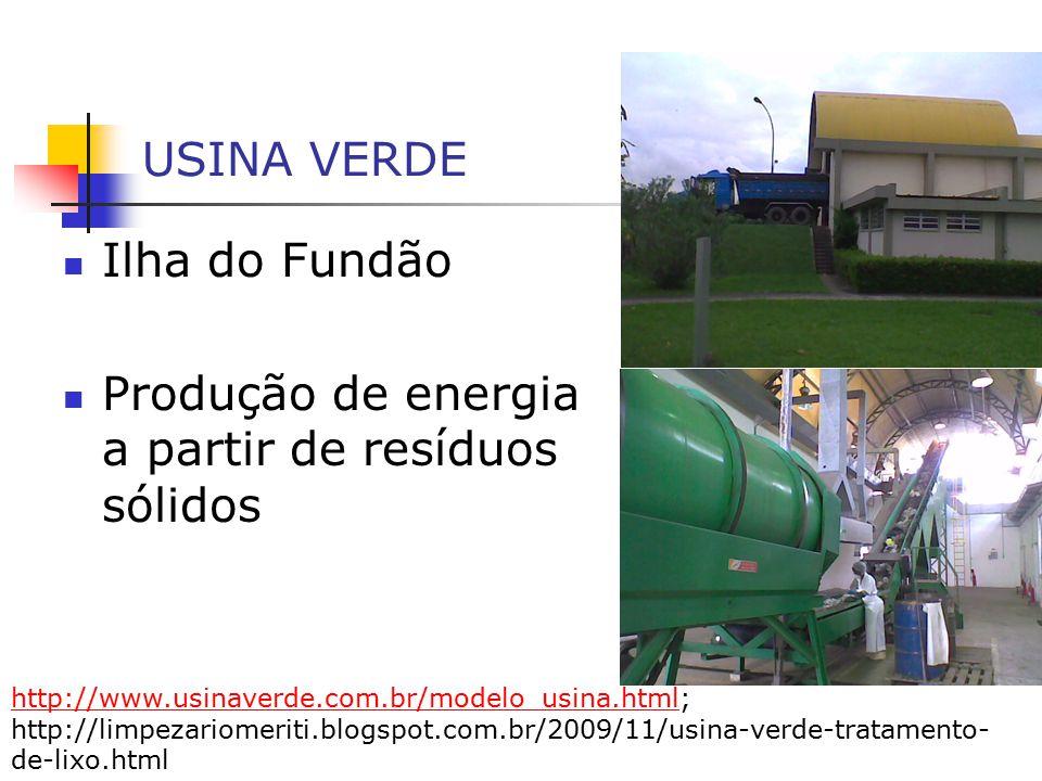 USINA VERDE Ilha do Fundão Produção de energia a partir de resíduos sólidos http://www.usinaverde.com.br/modelo_usina.htmlhttp://www.usinaverde.com.br