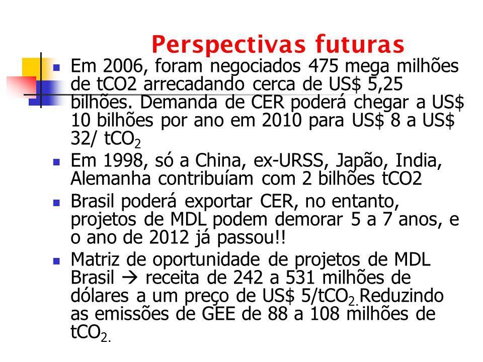 Perspectivas futuras Em 2006, foram negociados 475 mega milhões de tCO2 arrecadando cerca de US$ 5,25 bilhões. Demanda de CER poderá chegar a US$ 10 b