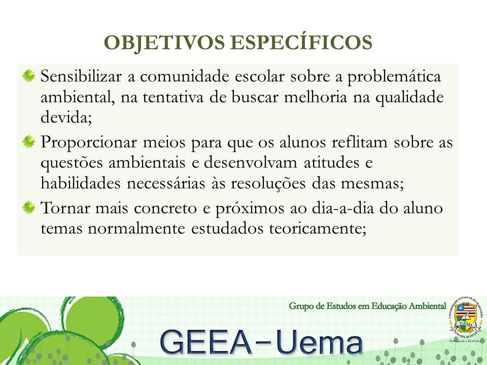 OBJETIVOS ESPECÍFICOS Sensibilizar a comunidade escolar sobre a problemática ambiental, na tentativa de buscar melhoria na qualidade devida; Proporcio