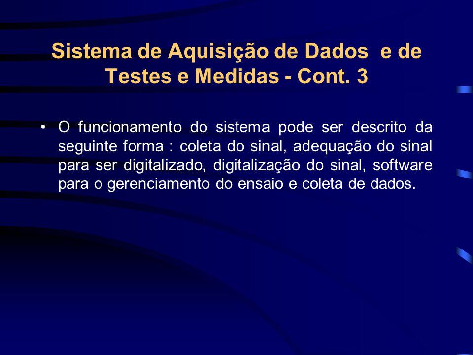 Sistema de Aquisição de Dados e de Testes e Medidas - Cont. 3 O funcionamento do sistema pode ser descrito da seguinte forma : coleta do sinal, adequa