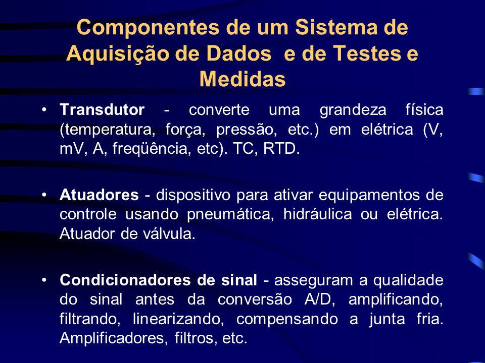 Componentes de um Sistema de Aquisição de Dados e de Testes e Medidas Transdutor - converte uma grandeza física (temperatura, força, pressão, etc.) em