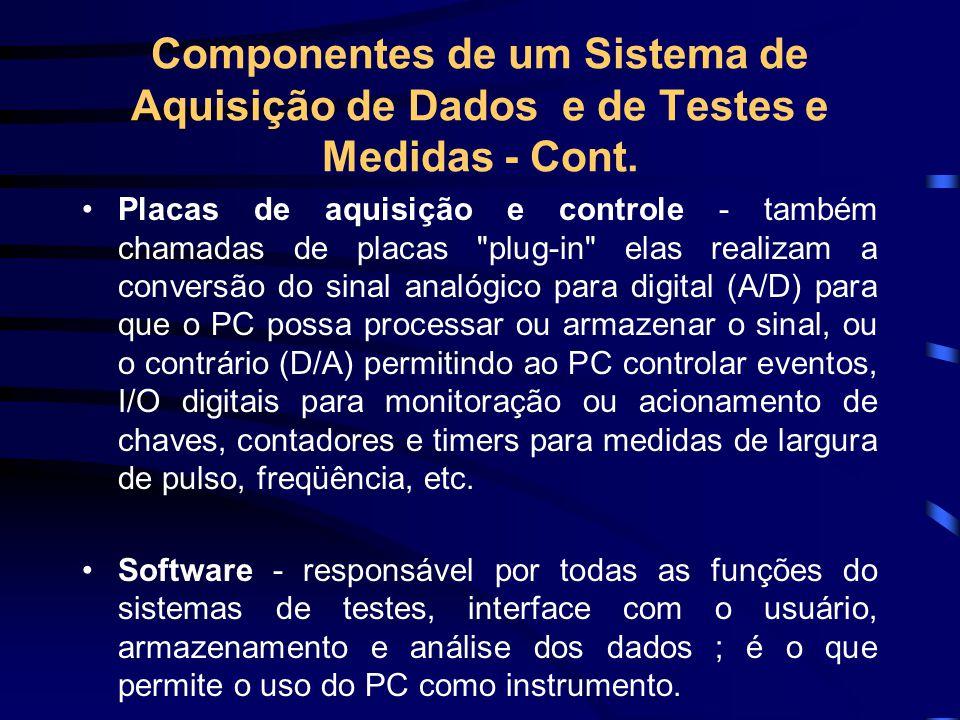 Componentes de um Sistema de Aquisição de Dados e de Testes e Medidas - Cont. Placas de aquisição e controle - também chamadas de placas