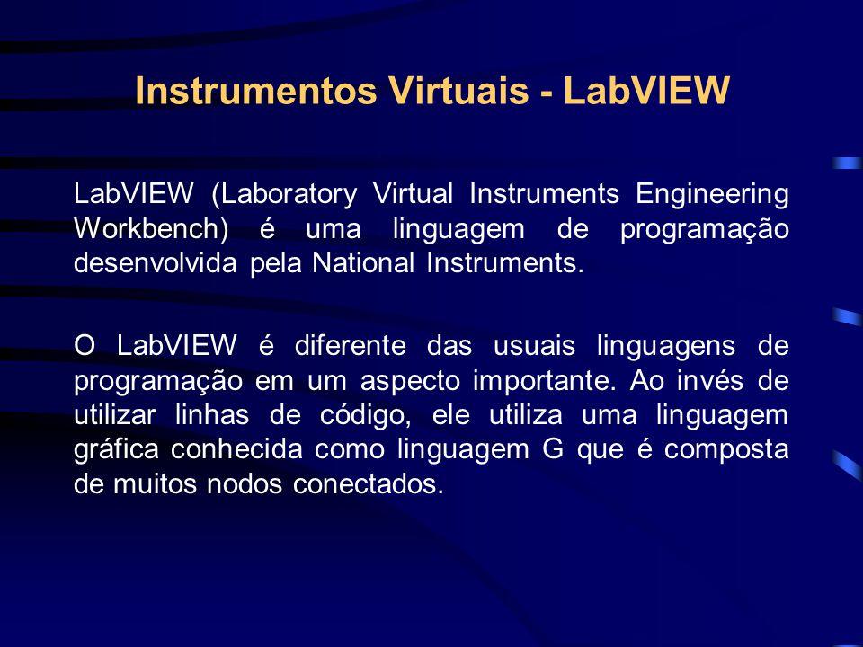 Instrumentos Virtuais - LabVIEW LabVIEW (Laboratory Virtual Instruments Engineering Workbench) é uma linguagem de programação desenvolvida pela Nation