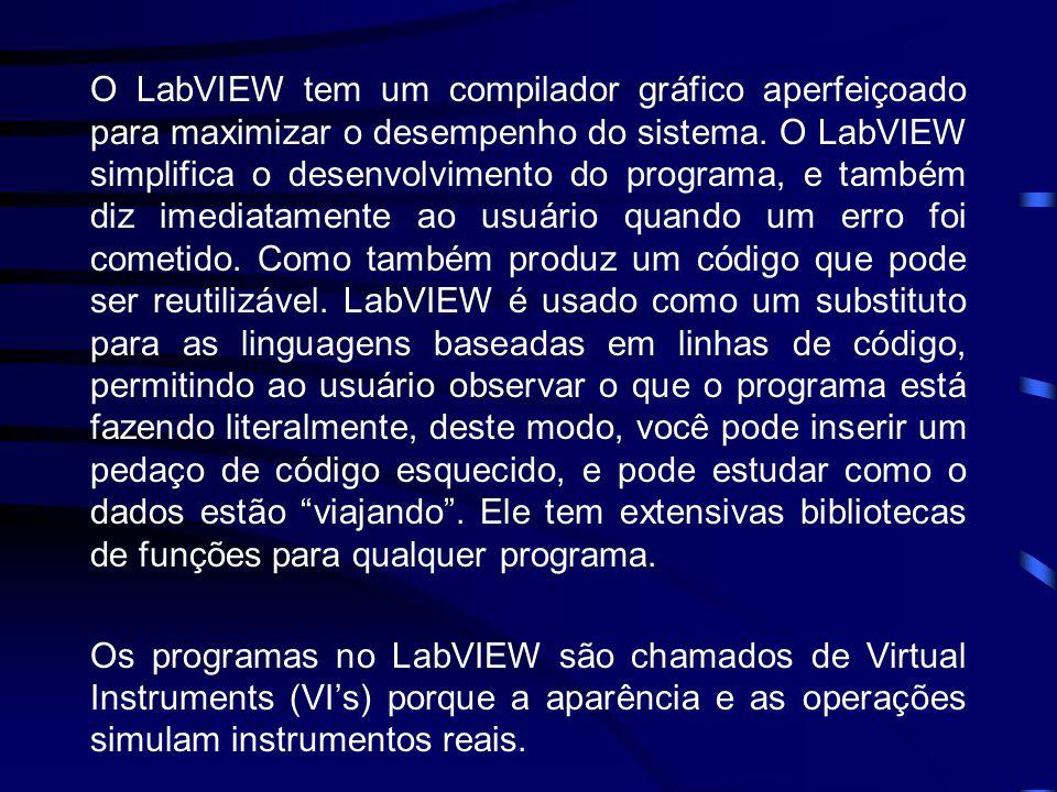 O LabVIEW tem um compilador gráfico aperfeiçoado para maximizar o desempenho do sistema. O LabVIEW simplifica o desenvolvimento do programa, e também