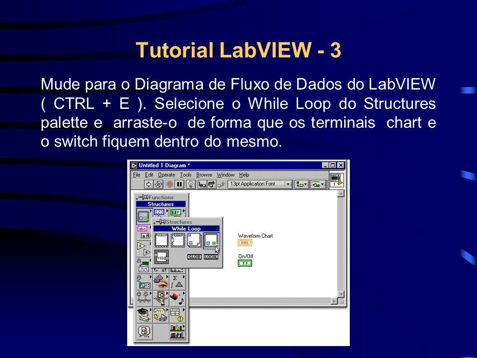 Tutorial LabVIEW - 3 Mude para o Diagrama de Fluxo de Dados do LabVIEW ( CTRL + E ). Selecione o While Loop do Structures palette e arraste-o de forma