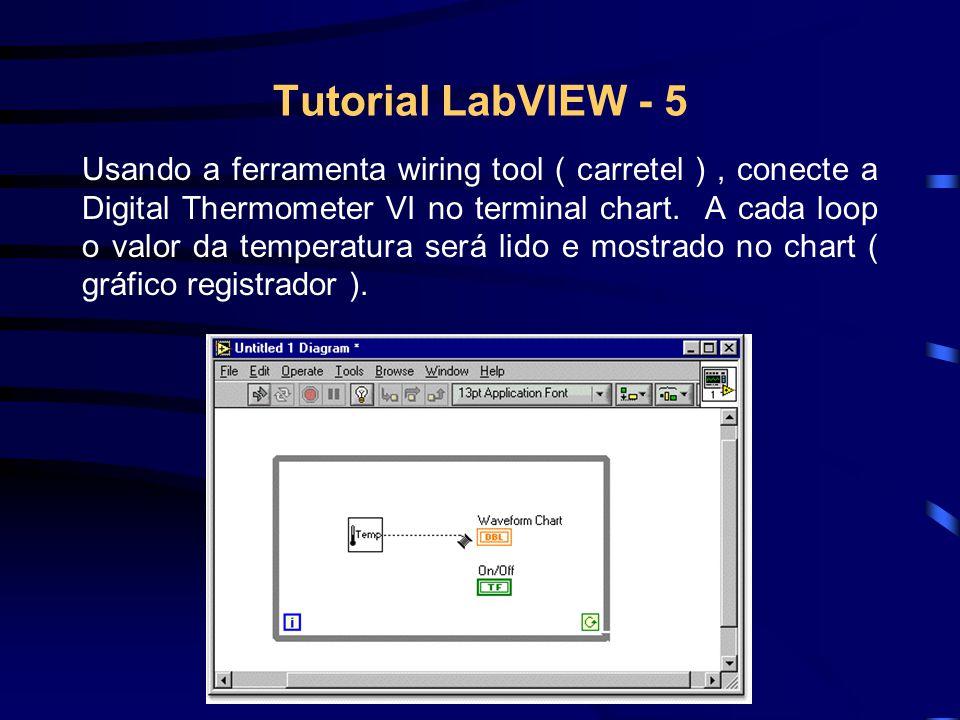 Tutorial LabVIEW - 5 Usando a ferramenta wiring tool ( carretel ), conecte a Digital Thermometer VI no terminal chart.