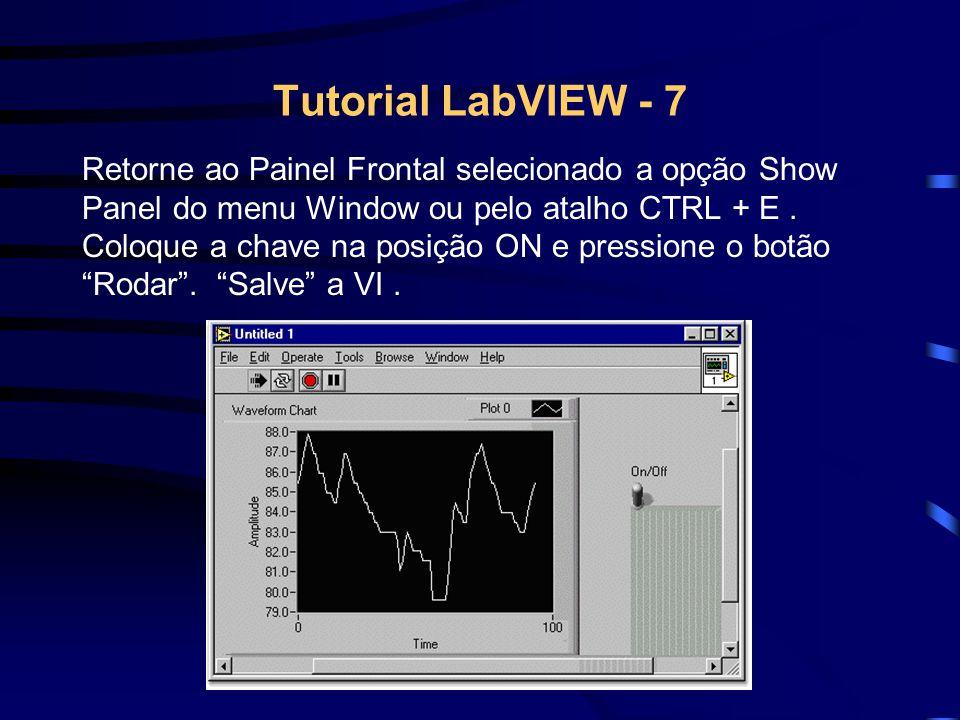 Tutorial LabVIEW - 7 Retorne ao Painel Frontal selecionado a opção Show Panel do menu Window ou pelo atalho CTRL + E. Coloque a chave na posição ON e