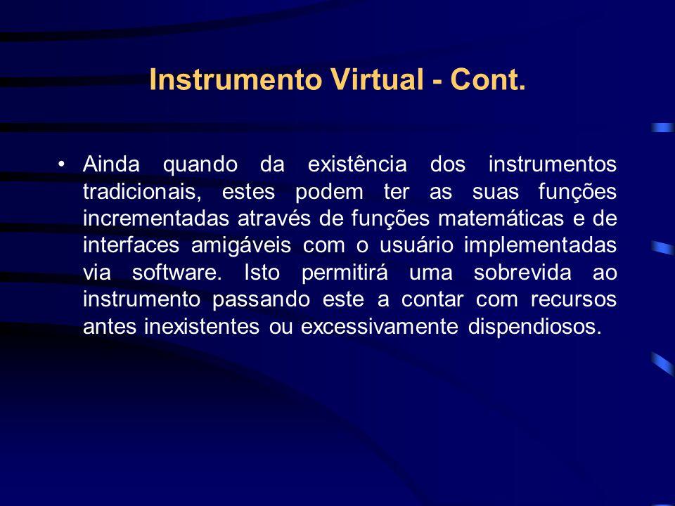 Instrumento Virtual - Cont. Ainda quando da existência dos instrumentos tradicionais, estes podem ter as suas funções incrementadas através de funções