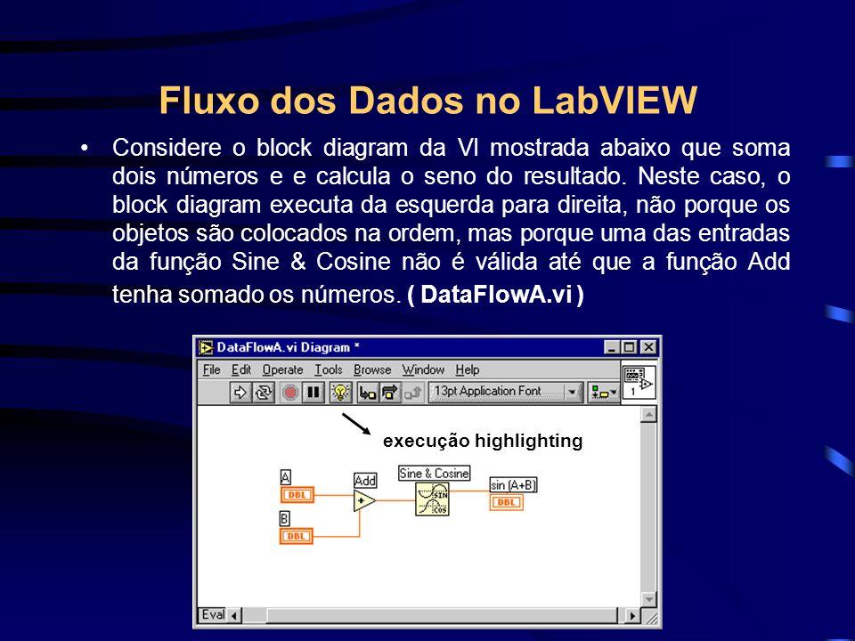 Fluxo dos Dados no LabVIEW Considere o block diagram da VI mostrada abaixo que soma dois números e e calcula o seno do resultado.