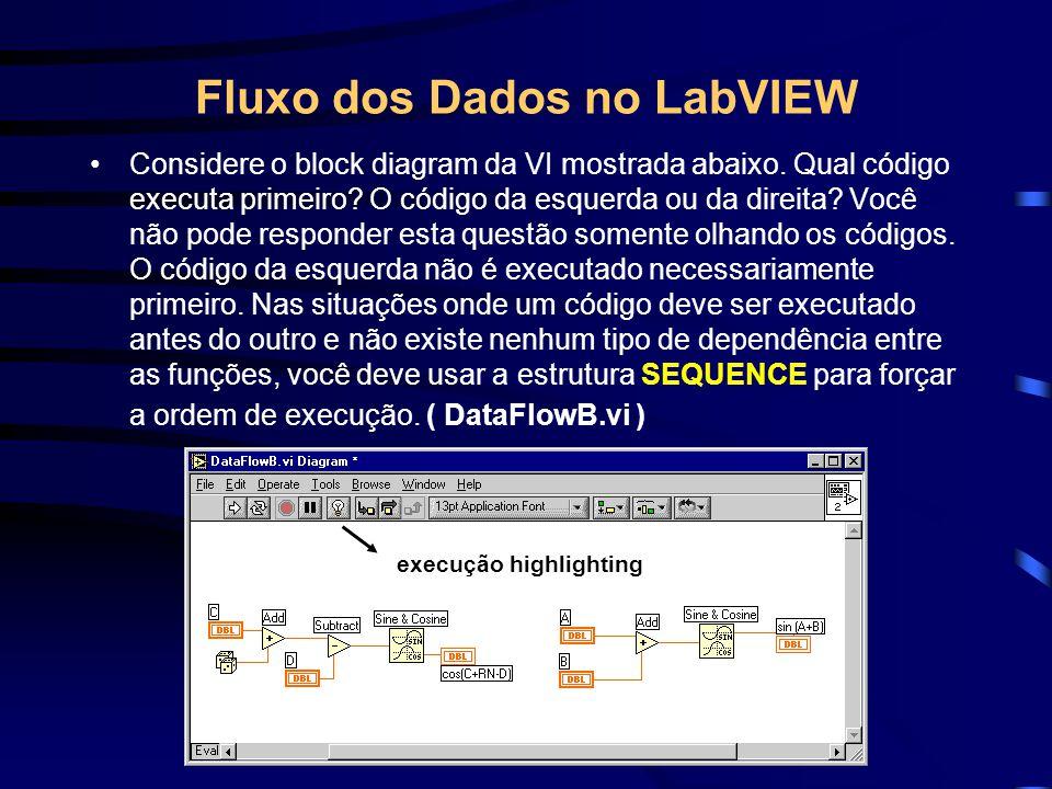 Fluxo dos Dados no LabVIEW Considere o block diagram da VI mostrada abaixo. Qual código executa primeiro? O código da esquerda ou da direita? Você não