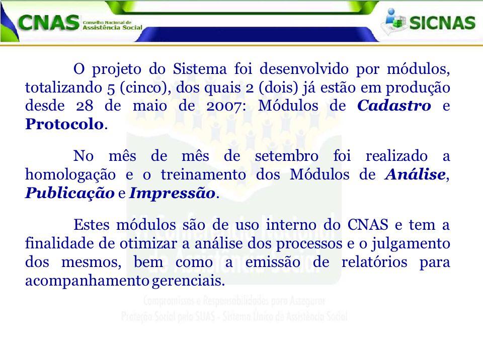 O projeto do Sistema foi desenvolvido por módulos, totalizando 5 (cinco), dos quais 2 (dois) já estão em produção desde 28 de maio de 2007: Módulos de Cadastro e Protocolo.