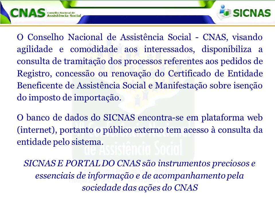 O Conselho Nacional de Assistência Social - CNAS, visando agilidade e comodidade aos interessados, disponibiliza a consulta de tramitação dos processo