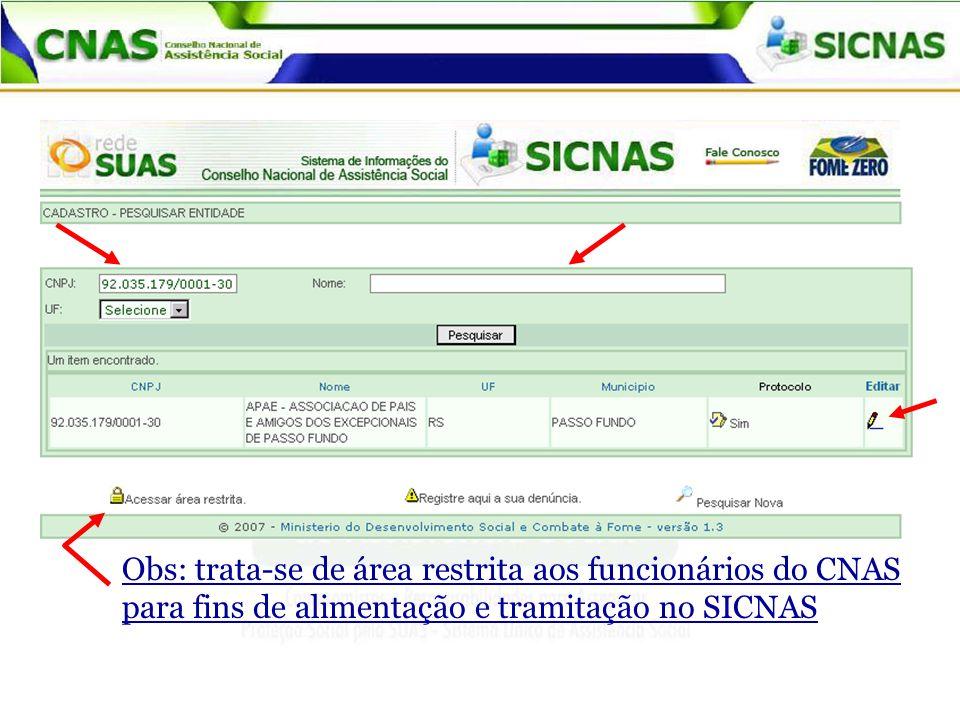 Obs: trata-se de área restrita aos funcionários do CNAS para fins de alimentação e tramitação no SICNAS