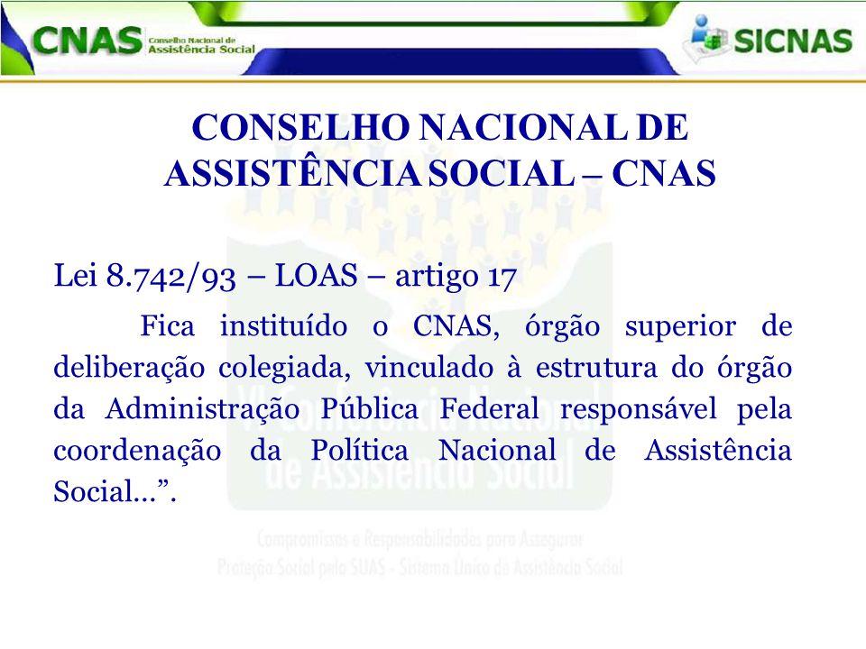CONSELHO NACIONAL DE ASSISTÊNCIA SOCIAL – CNAS Lei 8.742/93 – LOAS – artigo 17 Fica instituído o CNAS, órgão superior de deliberação colegiada, vincul