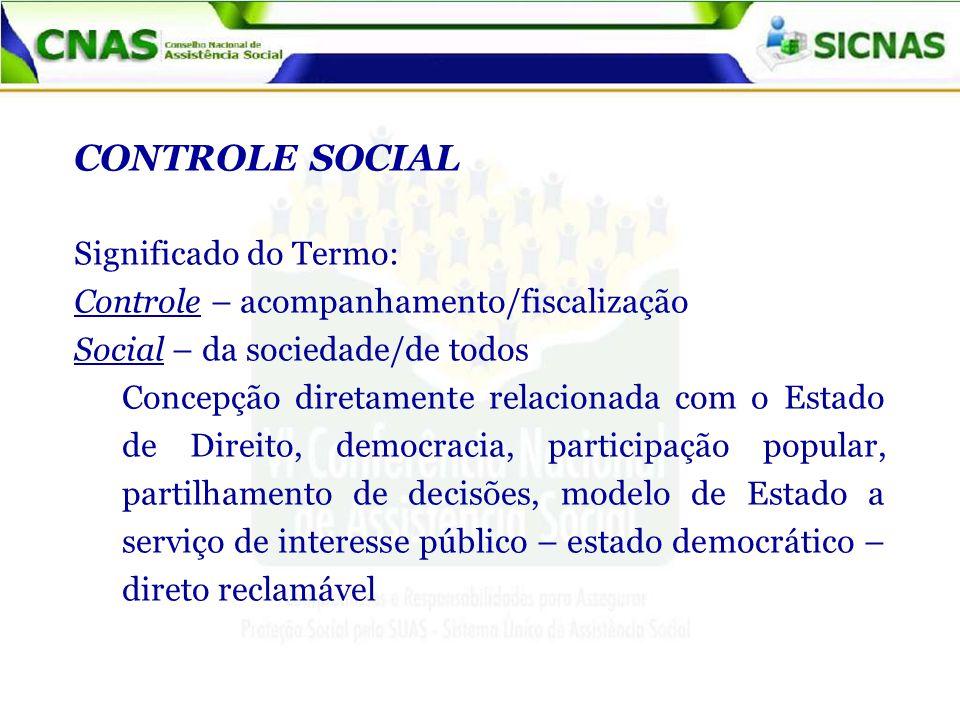 CONTROLE SOCIAL Significado do Termo: Controle – acompanhamento/fiscalização Social – da sociedade/de todos Concepção diretamente relacionada com o Estado de Direito, democracia, participação popular, partilhamento de decisões, modelo de Estado a serviço de interesse público – estado democrático – direto reclamável