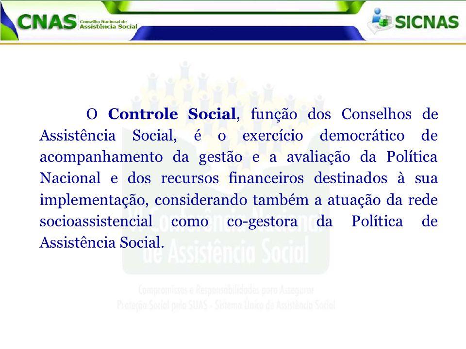 O Controle Social, função dos Conselhos de Assistência Social, é o exercício democrático de acompanhamento da gestão e a avaliação da Política Naciona