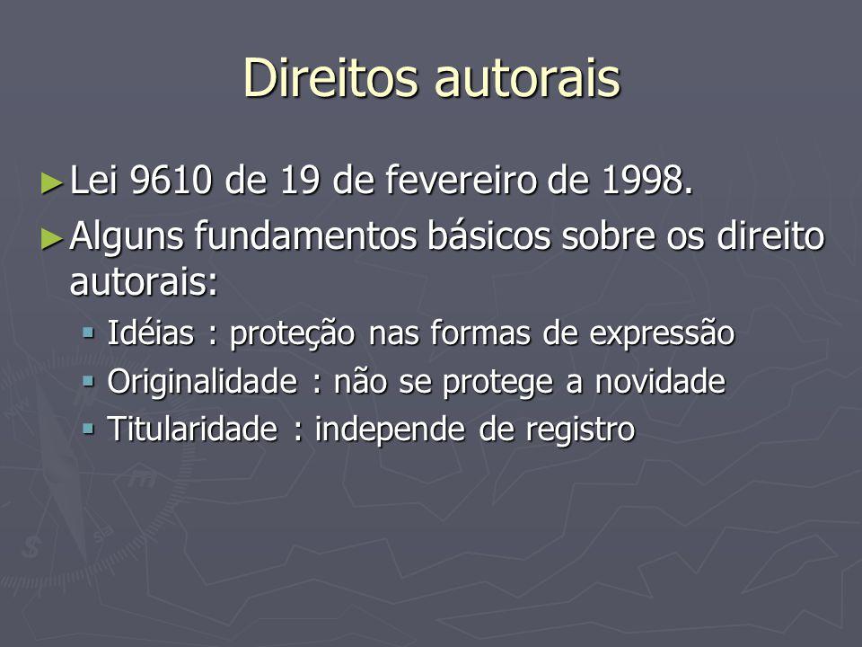 Direitos autorais ► Lei 9610 de 19 de fevereiro de 1998.