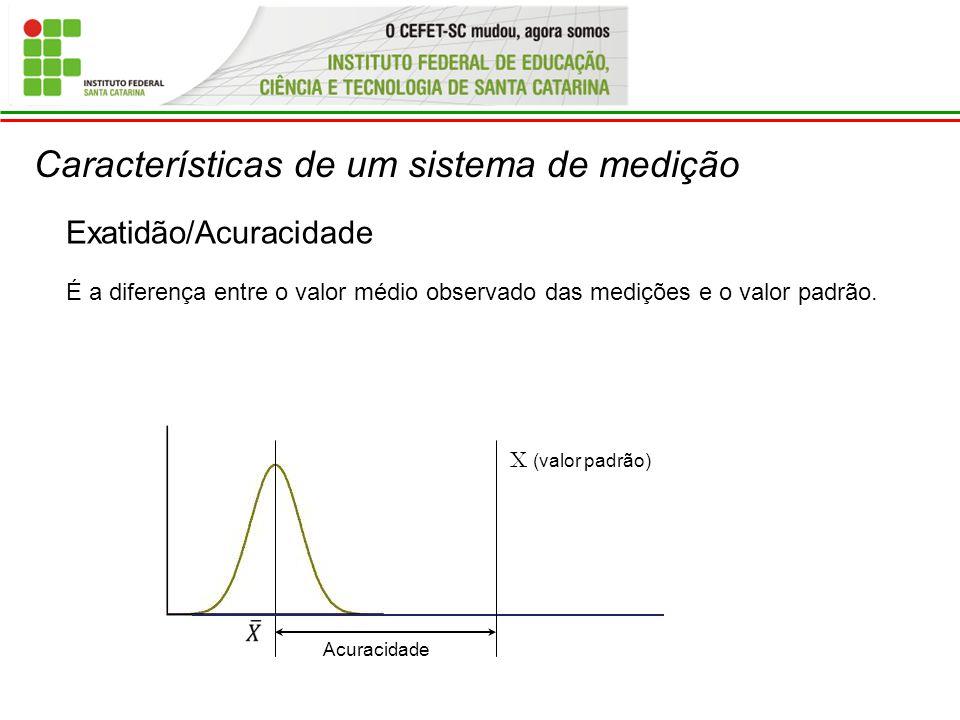Características de um sistema de medição Exatidão/Acuracidade É a diferença entre o valor médio observado das medições e o valor padrão. X (valor padr