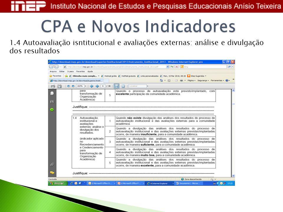 1.4 Autoavaliação isntitucional e avaliações externas: análise e divulgação dos resultados
