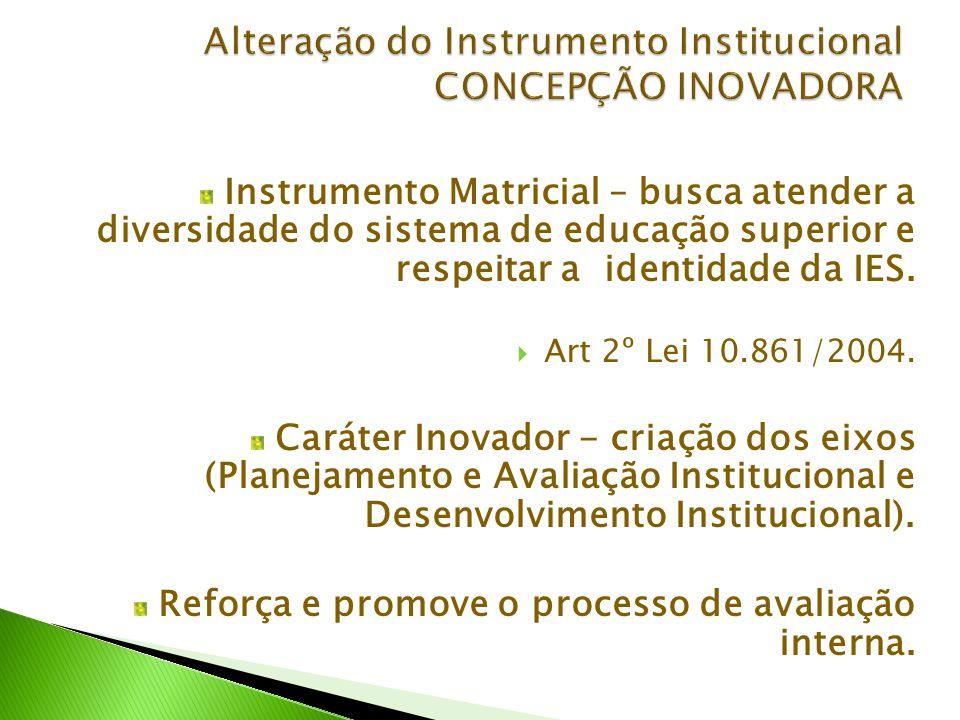 Instrumento Matricial – busca atender a diversidade do sistema de educação superior e respeitar a identidade da IES.  Art 2º Lei 10.861/2004. Caráter