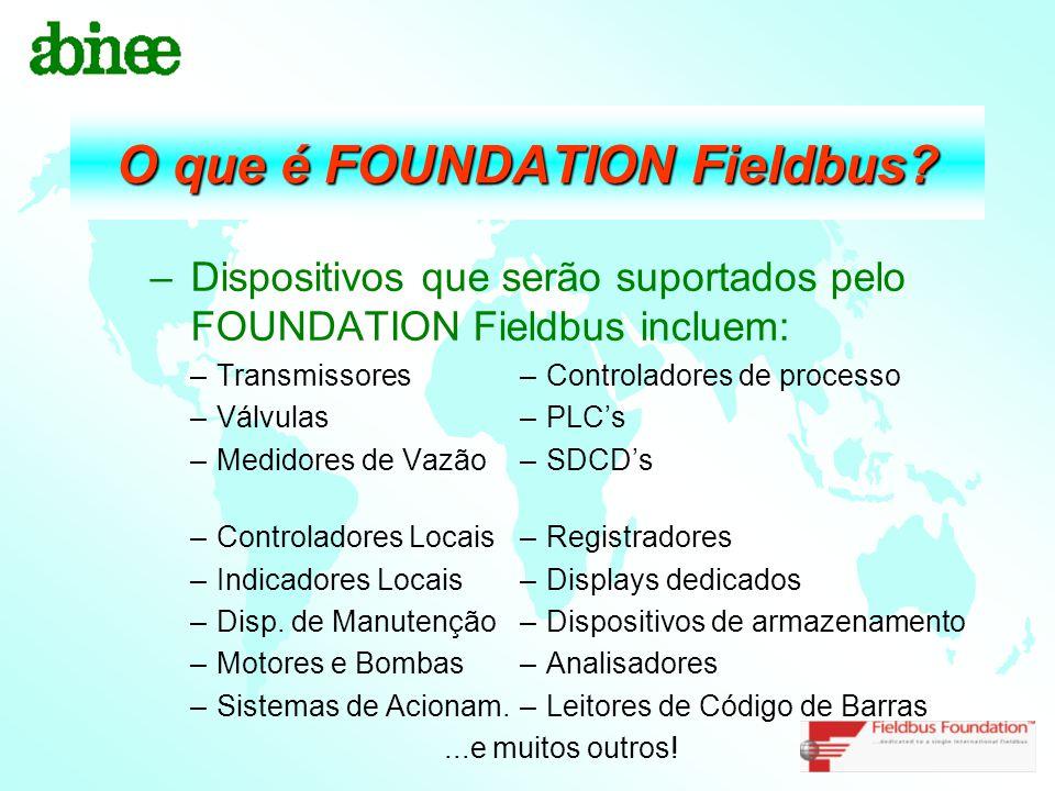 O que é FOUNDATION Fieldbus? –Dispositivos que serão suportados pelo FOUNDATION Fieldbus incluem: –Transmissores–Controladores de processo –Válvulas–P
