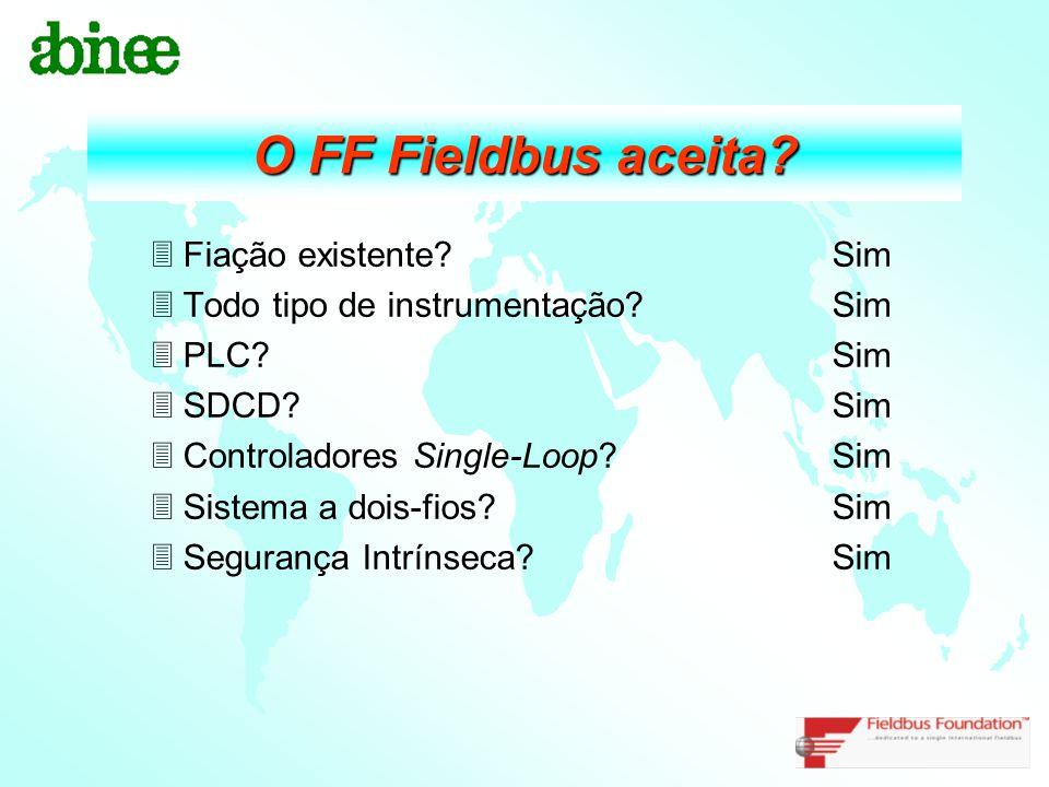 O FF Fieldbus aceita? 3Fiação existente? Sim 3Todo tipo de instrumentação? Sim 3PLC? Sim 3SDCD? Sim 3Controladores Single-Loop? Sim 3Sistema a dois-fi