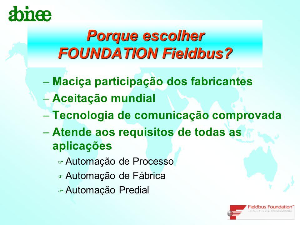 Porque escolher FOUNDATION Fieldbus? –Maciça participação dos fabricantes –Aceitação mundial –Tecnologia de comunicação comprovada –Atende aos requisi