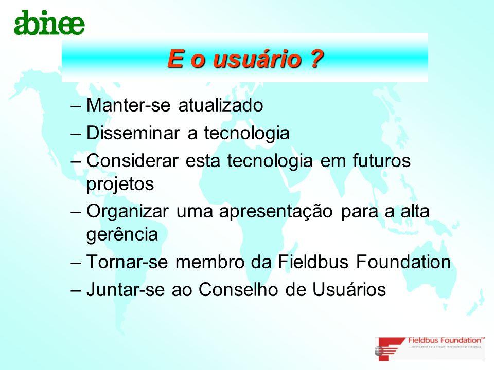 E o usuário ? –Manter-se atualizado –Disseminar a tecnologia –Considerar esta tecnologia em futuros projetos –Organizar uma apresentação para a alta g