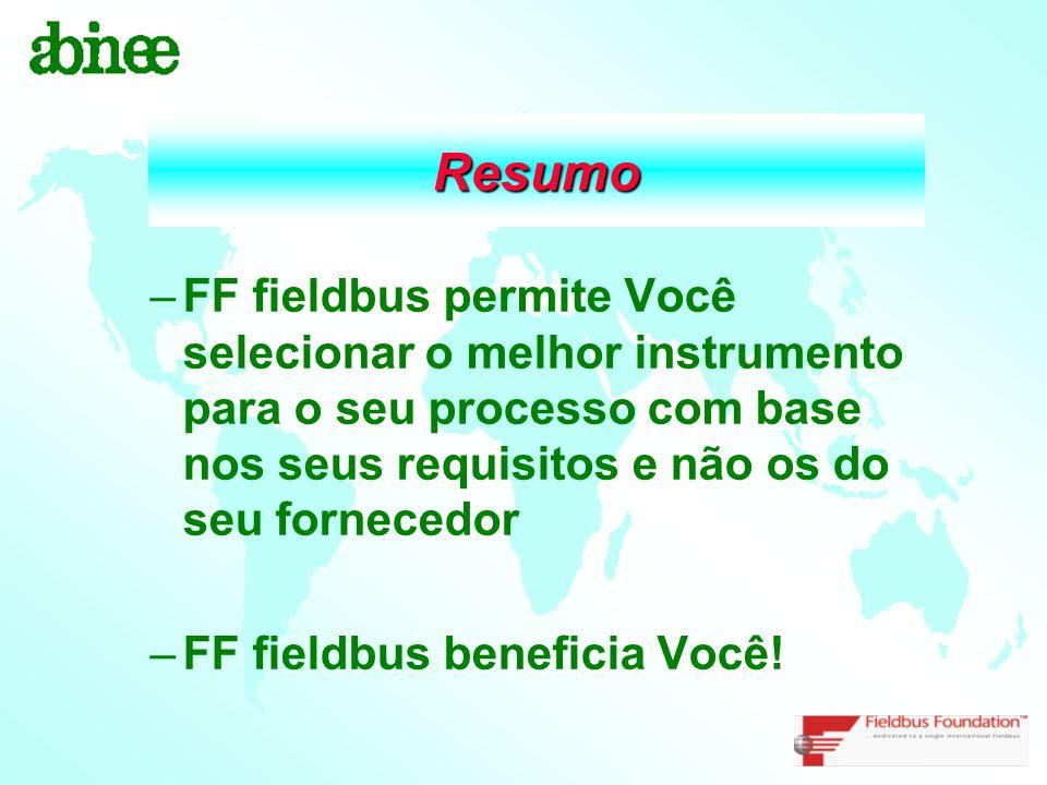 Resumo –FF fieldbus permite Você selecionar o melhor instrumento para o seu processo com base nos seus requisitos e não os do seu fornecedor –FF field