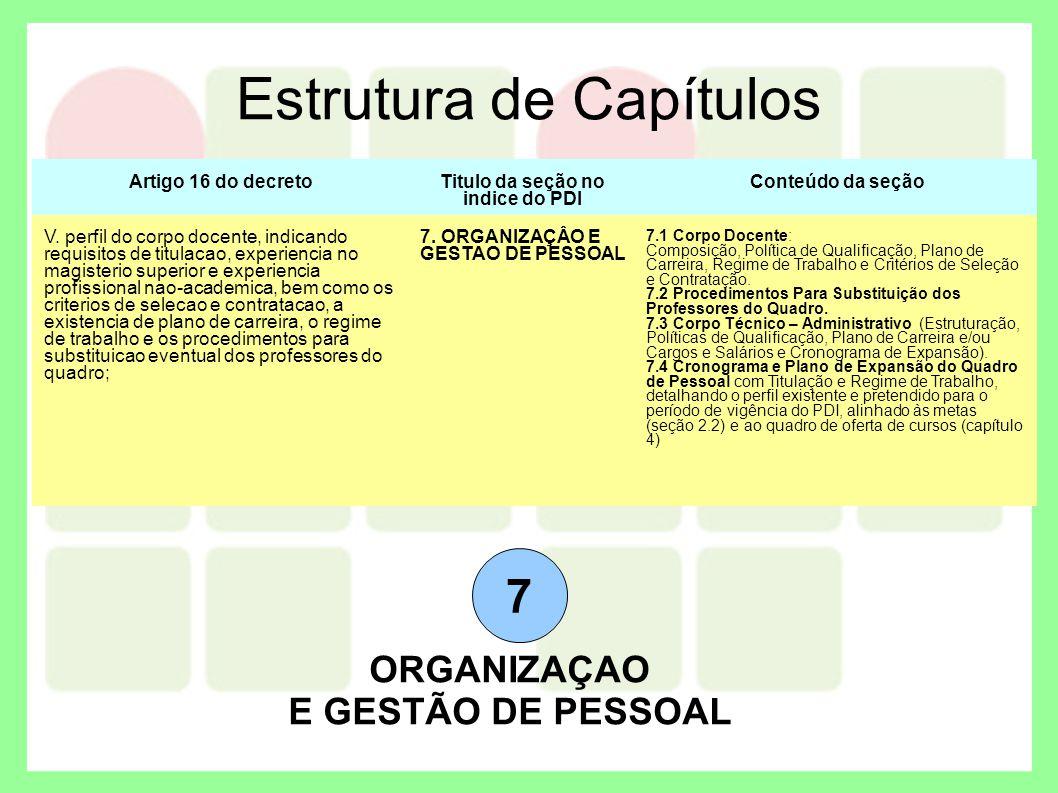 Estrutura de Capítulos 7 ORGANIZAÇAO E GESTÃO DE PESSOAL Artigo 16 do decretoTitulo da seção no indice do PDI Conteúdo da seção V. perfil do corpo doc