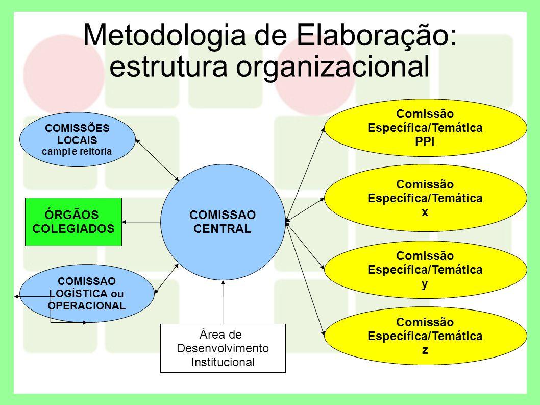 Metodologia de Elaboração: estrutura organizacional COMISSAO CENTRAL COMISSÕES LOCAIS campi e reitoria COMISSAO LOGÍSTICA ou OPERACIONAL Área de Desen