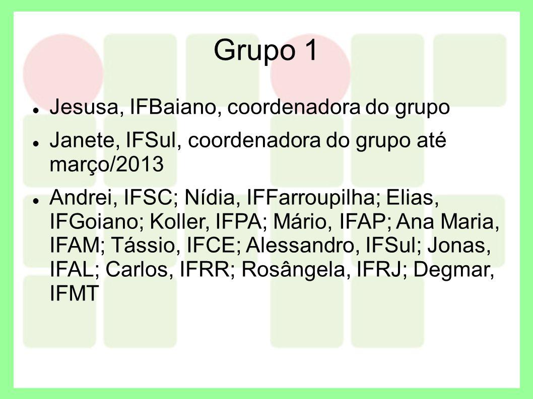 Grupo 1 Jesusa, IFBaiano, coordenadora do grupo Janete, IFSul, coordenadora do grupo até março/2013 Andrei, IFSC; Nídia, IFFarroupilha; Elias, IFGoian