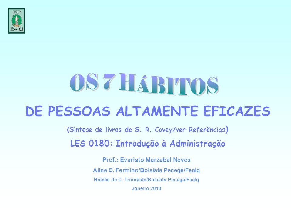 DE PESSOAS ALTAMENTE EFICAZES (Síntese de livros de S. R. Covey/ver Referências ) LES 0180: Introdução à Administração Prof.: Evaristo Marzabal Neves
