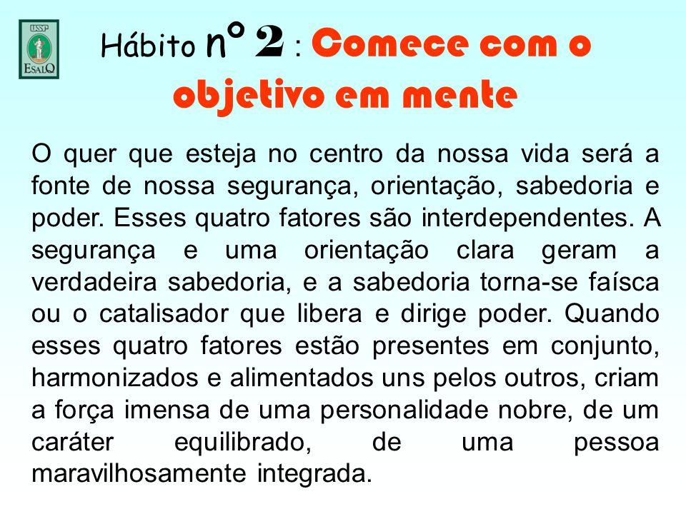 Hábito nº 2 : Comece com o objetivo em mente O quer que esteja no centro da nossa vida será a fonte de nossa segurança, orientação, sabedoria e poder.