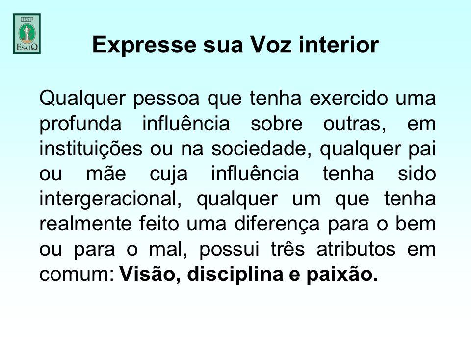 Expresse sua Voz interior Qualquer pessoa que tenha exercido uma profunda influência sobre outras, em instituições ou na sociedade, qualquer pai ou mã